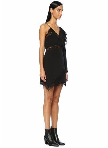 IRO Tek Kollu Dantelli Mini İpek Elbise Siyah